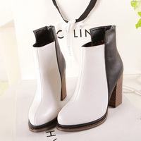 Autumn and winter fashion boots genuine leather thick heel boots british style martin boots ultra high heels color block