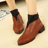 Autumn women's shoes vintage boots fashion pointed toe single shoes flat heel martin boots boots patchwork