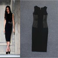 Free Shipping!Europe Fashion Victoria  Beckhams Fashion Patchwork Sleeveless Slim Waist Dress/Long  Dresses H6201