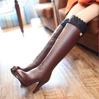 2013 autumn and winter the trend genuine leather lace tall boots platform thick high-heeled boots 40 over-the-knee