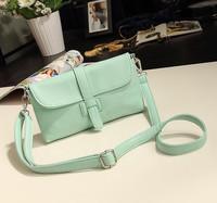 Free shipping New Fashion Women lady girl messenger bag candy color vintage shoulder bag handbag good quality PU Flap pocket bag