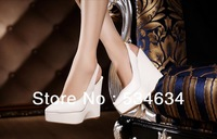 White leather front Packet Empty after pointed-end platform flange wedges high-heeled sandal