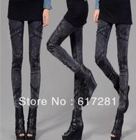 Free shipping fashion autumn-winter women's jeans, women's casual dress leggings imitation prints pencil pants feet pants