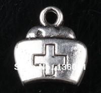 Wholesale Fashion Jewelry Vintage  Silvers Nurse Hat Charms Pendants  DIY Jewelry Findings Fit  Bracelets 100PCS 13*12mm  Z1607
