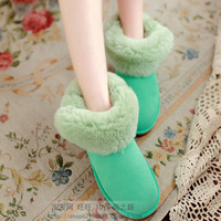 Real Fur Brand Snow Boots Winter  sheepskin  Women's ankle Boot Shoes  Wholesale Cheap candy color 7854