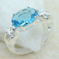 SR0002 2pcs 25CT OVAL CUT Dragon playing a pearl blue topaz ring sz.7 8 9 Wholesale FREE SHIPPING 925 silver women jewerly