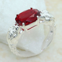 SR0004 2pcs 25CT OVAL CUT Dragon playing a pearl red garnet ring sz.7 8 9 Wholesale FREE SHIPPING 925 silver women jewerly