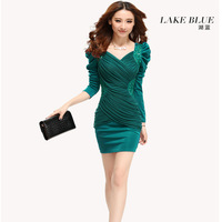 Autumn and winter elegant slim hip 2013 autumn one-piece dress slim sexy women's V-neck one-piece dress