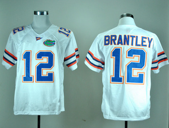 Free Shipping Cheap NCAA Colleage Football Jerseys,Florida Gators #12 John Brantley white jersey,Embroidery logos