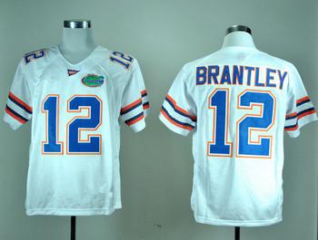 Free Shipping Cheap NCAA Colleage Football Jerseys,Florida Gators #12 John Brantley white jersey,Embroidery logos