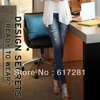 Free shipping new fashion elastic thin casual dress women's jeans autumn - winter Slim pants feet pencil pants
