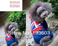 Pet British Style Union Jack Jeans Hooded sweater 4-legs Casual Sport Coat Thick Warm Dog Teddy Autumn Winter Clothes Apparel