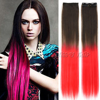 (5pcs/lot) 45cm long straight synthetic clip in hair extensions ombre gradient color hairpiece 2clips 20colors