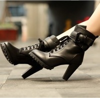 2013 female fashion spring and autumn boots single boots high thick heel lacing martin boots motorcycle boots