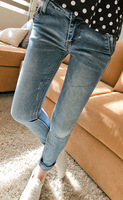 Free Shipping Pocket rivet denim pencil pants slim skinny pants female 1827