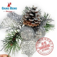 Free Shipping(12pcs/lot)-16cm Silvery Pine Cone Christmas Tree Decoration Ornaments Xmas Home Parties Decor