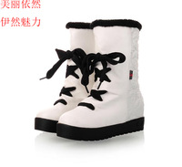 Boots plus size customize 40 41 42 lacing winter snow boots plush strap princess