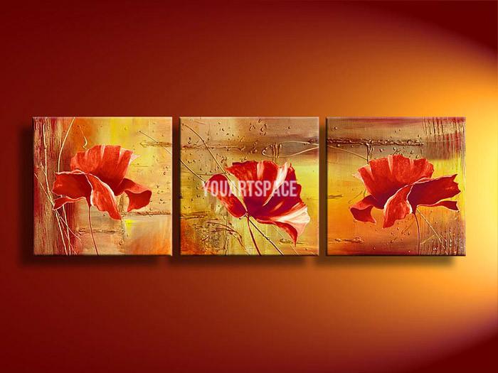 3 Piece parede Arte Sem modernos Framed abstrata acrílica Flor Laranja papoilas pintura a óleo sobre tela pintado à mão Obra Pictures(China (Mainland))
