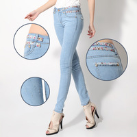 Free Shipping 2014 female jeans pencil pants print belt gentlewomen slim pants 785