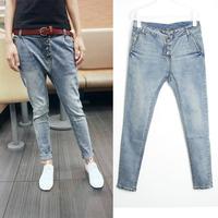 Free Shipping 807 jeans female skinny pants harem pants plus size buttons pencil pants