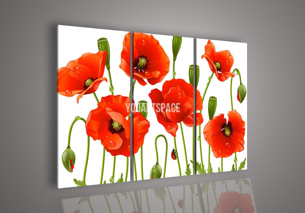 3 Piece Wall Art Pintura acrílica abstrata Flor Red Poppy Oil No Modern emoldurado na lona da faca de paleta para Home Decor Imagem(China (Mainland))