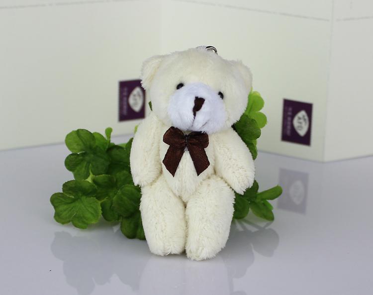 New 8cm cream white lovely Mini joint bear, wedding Gift Flower Packing plush toy Teddy Bear 50pcs/lot(China (Mainland))