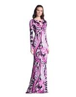 New IN 2013 Europe Top Fashion Women's Long Sleeves Sexy Cutout Abstract Geometry Print Sheath Maxi Dress