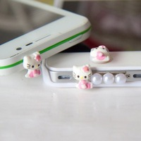 Min.Order $12(can mix) 3PCS/set Hellow Kitty Crystal 3.5mm Anti Dust Plug+Home button Sticker+Data Port Plug For iPhone4 iPad