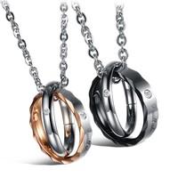 Opk fashion jewelry 2013 accessories titanium rhinestone lovers necklace n829