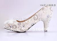 New arrival women Handmade pearl rhinestone bridal wedding shoes princess party banquet high heels shoes  5.5-11cm heel
