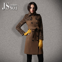 2013 female autumn and winter fashion slim leopard print long-sleeve medium-long woolen outerwear plus size wool coat