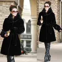 2013 new women's coat winter imitation fur imitation mink hair coat warm in the long increase cap coat coffee
