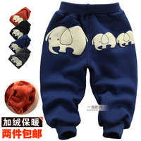 Autumn and winter k601 male female child child pants plus velvet thickening warm pants baby trousers openable-crotch baby