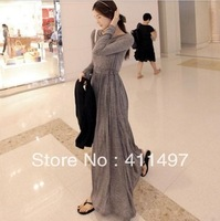 2013 autumn winter slim dresse, women's expansion bottom long-sleeve dress full dress elegant floor length