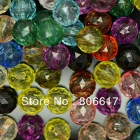 Free Shipping 1000 Pcs Random Mixed Triangle Faceted Acrylic Round Spacer Beads 8mm(W02599F)