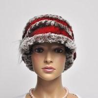 13 short brim hat rex rabbit hair knitted hat luxury fur flower ear protector cap