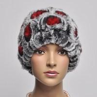 13 flowers rex rabbit hair knitted hat toe cap covering cap street cap fur hat ear protector cap