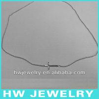 sideway cross silver necklace/ Sterling silver 925 necklace/ sideway cross