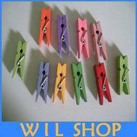 Free Shipping 400PCS/lot 35mm colored Mini Wooden clothes peg clips wooden clothespins for home clothes