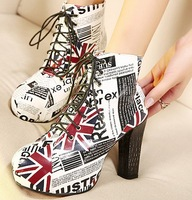 fashion ankle boots for women shoes woman new 2013 ladies platform pumps martin booties punk print  flags autumn lace up SX36527