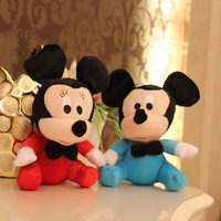 wholesale mini 7'' plush cartoon toy stuffed Mickey Mouse(blue, red), hot sale 18cm plush stuffed animal toy for baby,12 pcs/lot