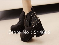 Free shipping ankle spikes fashion rivets boots for women shoes woman 2013 ladies high heels platform pumps