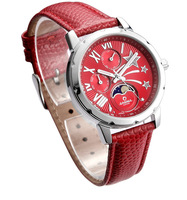 CASIMA brand women  rhinestone red leather watches,50M waterproof ,fashion  women dress watch, steel strap wristwatches