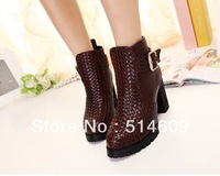 Free shipping platform pumps chunky high heels ankle fashion boots for women shoes woman 2013 ladies belt buckle winter