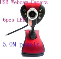New  5Mega  6 LED PC Camera HD Webcam Camera Web Cam with MIC for Computer PC Laptop ,tablet ,netbook Free Drop Shipping