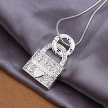 Wholesale Sterling 925 Silver Necklace,925 Silver Fashion Jewelry,Fashion Love Lock Pendant Necklace SMTN351