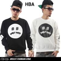 2014 HBA HOOD BY AIR Smile Now Sweatshirt HIP-HOP Fashion Leisure Male O-neck Hoodies PYREX Sweatshirt