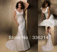 2013 New Arrival White Ivory Lace Appliques Backless Organza Wedding Dress Bridal Gown Custom Size 2 4 6 8 10 12 14 16 18 20