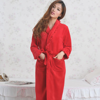 2013 autumn and winter coral fleece solid color decoration lace sleepwear robe lounge
