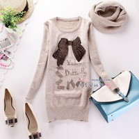 2013 new winter cute bow Korean Women long sections Slim package hip knit sweater coat